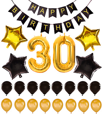 30th Birthday Decorations Giant Party Gold Foil Balloons Props Happy Banner