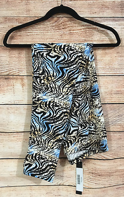 Tall and Curvy Super Soft Leggings Blue Animal Print Malia Plus P214N