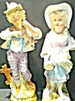 FABULOUS German BISQUE Figural Man with hunted rabbit &  woman with tamborine