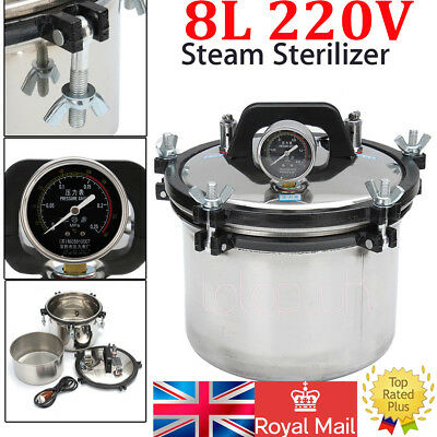 8L Steam Sterilizer High Pressure Autoclave Dental Equipment Dual Heating Pot