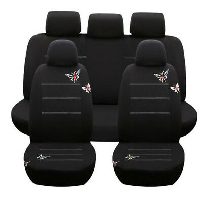 9Pcs Car Seat Cover Polyester Fabric Butterfly Embroidery Universal Full Set