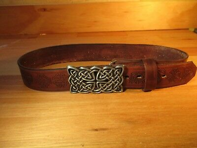 """Celtic Leather Belt Handmade 22"""" to extra long  <50 52 54 56 58 60 62 64 66 inch"""