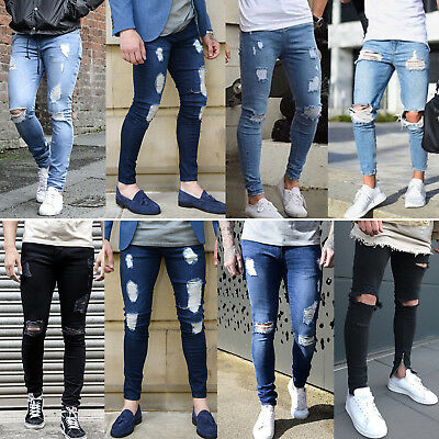 Mens Ripped Destroyed Biker Jeans Skinny Stretch Denim Pants Distressed Trousers