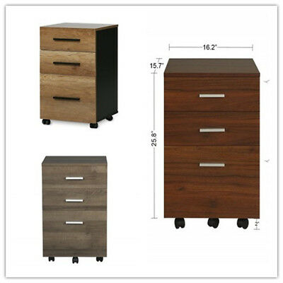 Orford Home Office Furniture 3-Drawer Wood Mobile Filing Storage Cabinet Rolling
