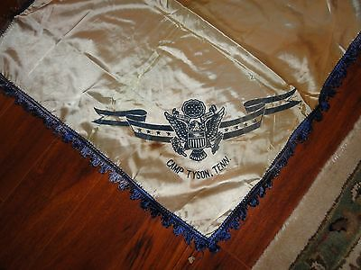 Rare Camp Tyson Tennessee Barrage Balloon Balloonist Wwii Silk Officers Banner