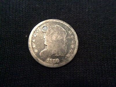 1836 Capped Bust Half Dime, Filled Hole! 58z-14