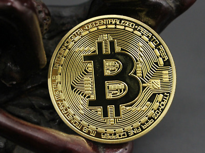 Gold Plated Metal Bitcoin Coin Art Collection Commemoration Meaning Coin Gift