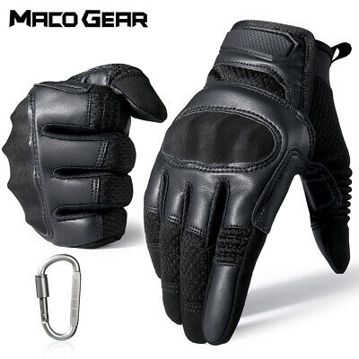 Touch Screen Leather Motorcycle Men's Tactical Hard Knuckle Full Finger Gloves
