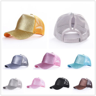 Women Mens Ponytail Baseball Cap Sequins Shiny Messy Bun Snapback Hat Sun Caps