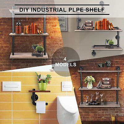 Rustic Industrial DIY Pipe Shelf Storage Vintage Wooden Floating Bookshelf Wall