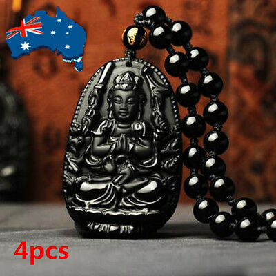 4pcs Natural Handwork Carved Black Obsidian Buddha Pendant With Beads Necklace