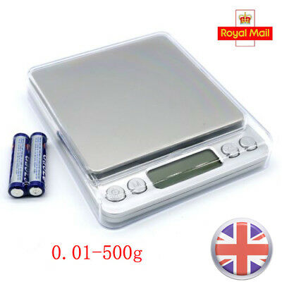 UK Digital Electronic Pocket Food Weight Scale Mini LCD Kitchen Weight 0.01-500g
