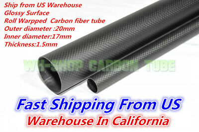 20mm OD X 17mm ID X 1000MM Carbon Fiber Tube 3K/Tubing Suit for RC Plane 20*17 H
