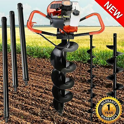75cc Petrol Post Hole Digger Earth Auger Drill Kit Set Max Depth 3m