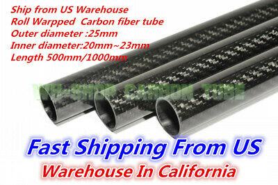 25mm OD X 21mm ID X 1000MM Carbon Fiber Tube 3K/Tubing Suit for RC Plane 25*21 H