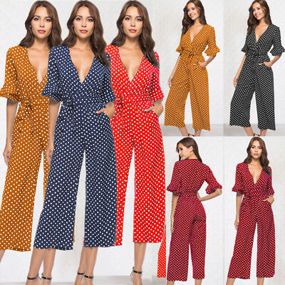 Womens V Neck Ruffle Sleeve Polka Dot Jumpsuit Holiday Wide Leg Playsuit Trouser