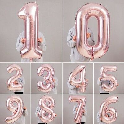 """40"""" Giant Foil Number Helium Large Baloon Birthday Party Wedding Decor Rose Gold"""