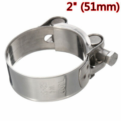 Motorcycle 2'' 51-55mm Rear Genuine Stainless Steel Coolant Exhaust Clamp Clip