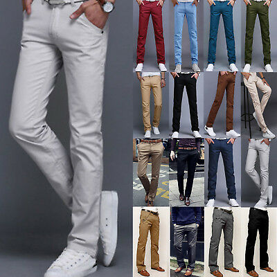 Men's Chino Trousers Formal Office Straight Pants Business Trousers Pencil Pants