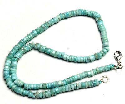 """Natural Rare Gem Larimar 6MM Approx. Smooth Rondelle Heishi Beads Necklace 17"""""""