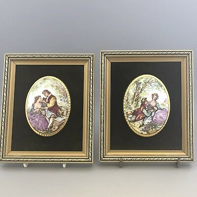 A Pair of Framed Plaques -Fragonard Style Lovers - Staffordshire Fine Bone China