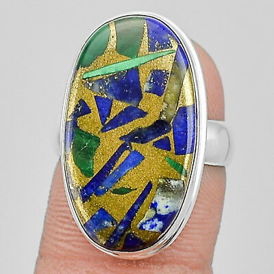 Clearance Sale Malachite with Lapis 925 Silver Plated Ring Jewelry s.7 MR01583