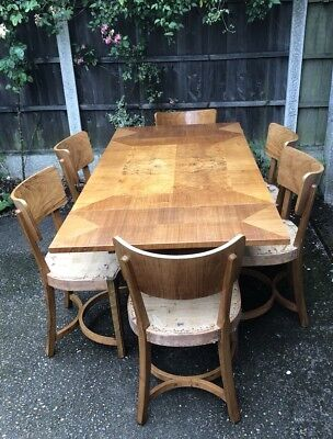 Superb Art Deco Walnut Dining Table  Chairs And Sideboard Made  By Inglesants