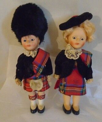 "Cute Vintage Pair of 6""-7""Scottish Travel Dolls Traditional Dress Souvernir"