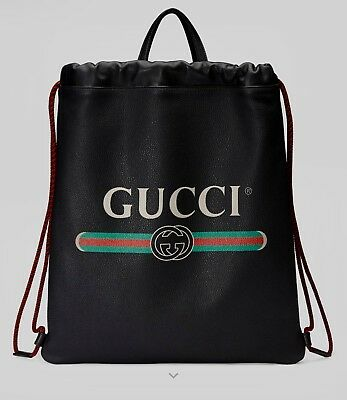 89ba7e5b5a13 2018 Gucci Print leather Drawstring Backpack New $1980 current retail
