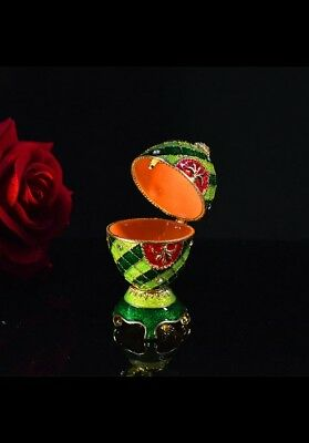 Beautiful colorful faberge egg metal trinket box craft home decoration green
