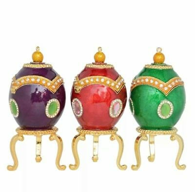 Green Faberge egg jewelry trinket boxes easter eggs vintage home decor gift