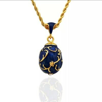 Blue Enamel Handmade Russian Easter Faberge Egg Pendant necklace