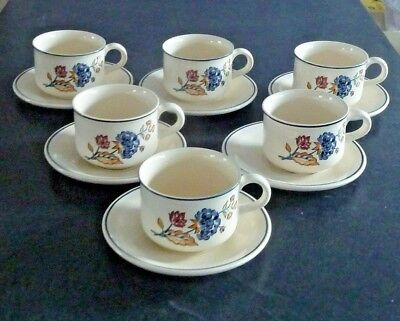 "Boots "" Camargue "" Tea Cups And Saucers X 6"