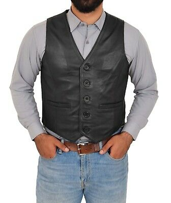 804645e5cd7978 Heren  kleding Mens real LEATHER waistcoat traditional classic black SOFT  stud buttons gilet