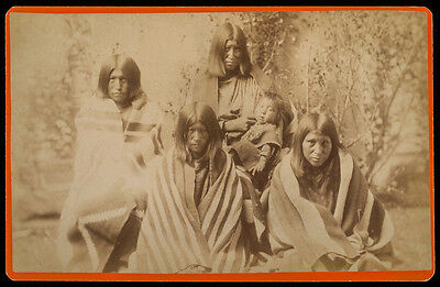 1880s cab card AMERICAN INDIANS possibly APACHE, Sioux, CROW, Arapaho w/BLANKETS