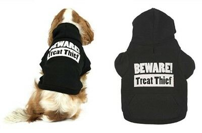 Fashion Treat Thief Warm His Her Unisex Dog Hoodie Jumper Sweater + Harness Hole