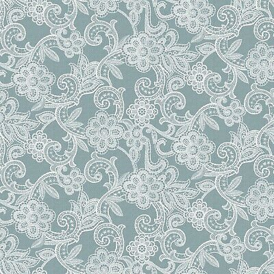 Pvc Table Cloth Fleur Lace Blue Steel Effect Flowers White Duck Egg Wipe Able