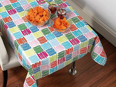 Pvc Table Cloth Scribble Squares Multi Pink Orange Green Blue Novelty Wipe Able