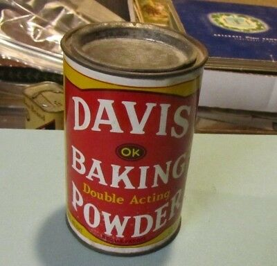 Vintage Davis Double Acting OK Baking Powder 12 Ounce Tin Can Reynolds New York