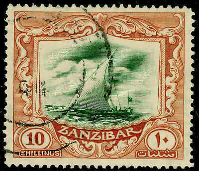 ZANZIBAR SG322, 10s green & brown, FINE used. Cat £32.