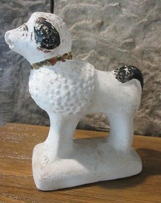 Antique 19th C Rare Folk Art Chalkware Dog Poodle #2 - Exc Orig Condition