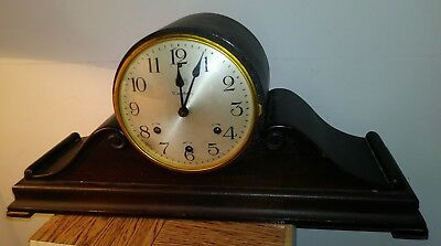 Beautiful Vintage Waterbury West Minister Humpback Silent Chime Mantle Clock