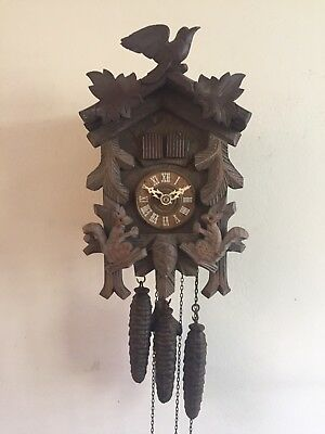 """Musical German 3 Weights Driven Carved Wood Case Cuckoo Clock GWO 11""""L 7""""W"""