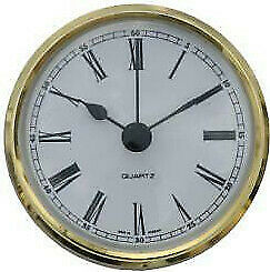 66mm Clock Suitable for Caravans, Motorhomes and Boats white Roman Brass bezel