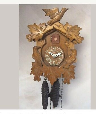 """German 2 Weights Driven Carved Wood Case Cuckoo Clock GWO 11""""L 7""""W"""