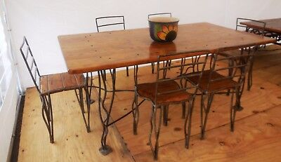 Metal / Wood Dining Table W/ Six Chairs