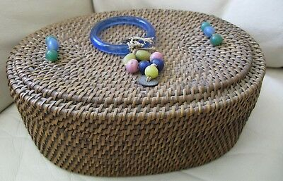 Antique Victorian Chinese PEKING GLASS Rings Coins Beads Purse Sewing Basket