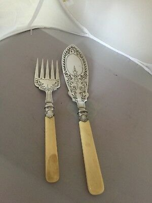 Lovely Uncased 2 Piece Silver Plated Fish Serving Set Ivorine Handles(Spss 196D)