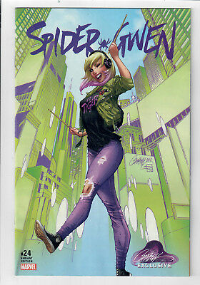 """SPIDER-GWEN #24 - NM - J.Scott Campbell Exclusive Cover B """"Civilian"""" variant!"""