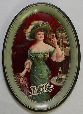 Gorgeous 1909 Pepsi Cola Advertising Tip Tray Beautiful Gibson Girl Excellent